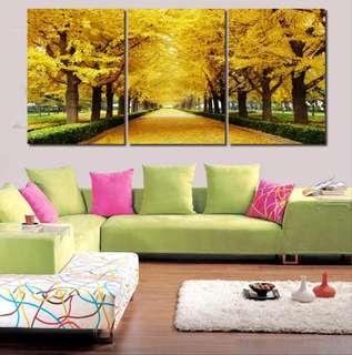 3pcs Golden Trees Canvas Painting
