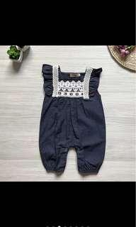 Denim Romper with Embroidary