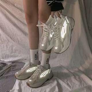 All sizes reflective sneakers shoes