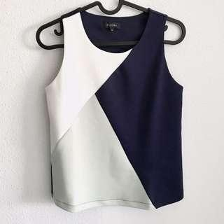 🚚 Zalora colourblock top navy blue white grey stripe abstract pattern