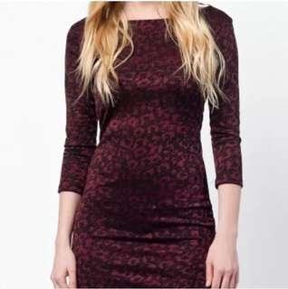 Zara winter burgundy leopard dress. Size 8-10