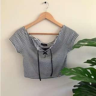 Striped Crop Top with Tie Up Front