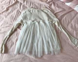 Initial 米白色紗網飄逸冷長袖衫