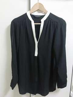 🚚 韓版白領黑雪紡襯衫