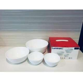 (NEW & UNUSED) Luminarc 4 Pieces Fully Tempered microwave Safe White Bowl