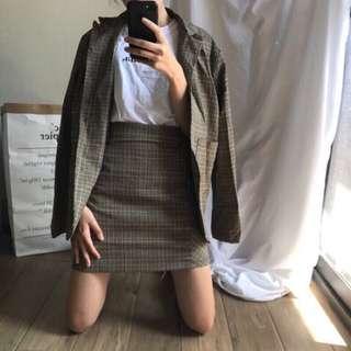 (9成新)nuhi 正韓格紋短裙 m號