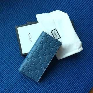 Gucci long wallet pastel baby blue