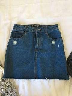 factory denim skirt