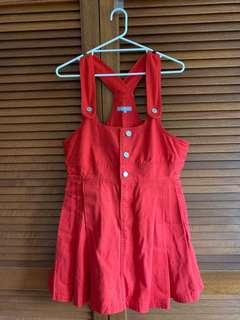 Red Denim overall like dress in Red