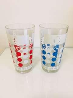 🚚 特價大拍賣!文青風普普風台灣懷舊早期玻璃杯老玻璃杯杯子2個一組150