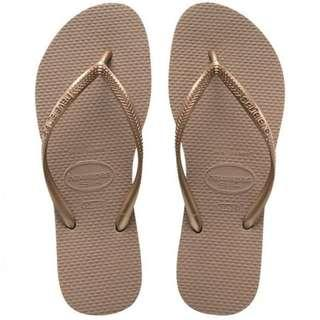 🚚 BNWT Havaianas rose gold Slippers flip flops thongs