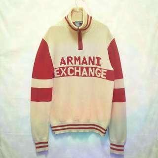 三件7折🎊 Armani 毛衣 針織毛衣 大學T 長T 卡其紅 大logo 極稀有 老品 古著 復古 Vintage