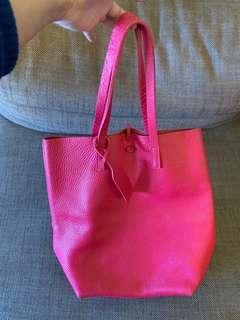 桃紅正牛皮側背包托特包