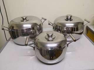 Stainless Steel Pots Set - 3pcs