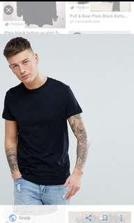 Pull and bear black t shirt