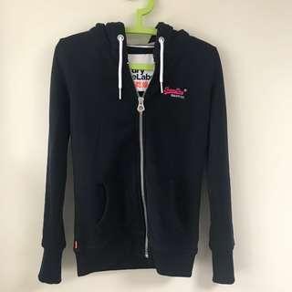 Superdry hoodie jacket navy orange label