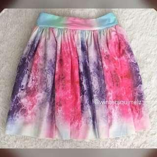 🚚 BN RARE Rainbow Tie Dye Ombre Gradient Ribbon Tie Back Skirt
