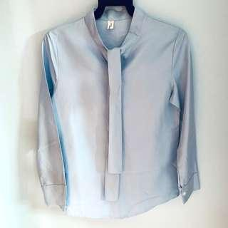 🚚 Baby Blue Long Sleeve Blouse with Ribbon