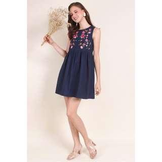 e14a92d444d LIKE NEW Neonmello MADEBYNM LUNOX EMBROIDERY BABYDOLL DRESS IN NAVY BLUE  2019 New Arrival Design