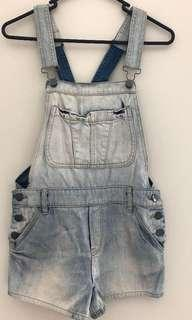 Sportsgirl Faded Light Blue Denim Dungaree Overalls