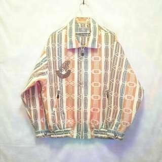 三件7折🎊 法牌復古夾克 外套 淺色系 羊毛 大電繡 極稀有 老品 復古 古著 vintage