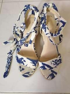 White & Blue Floral wedges