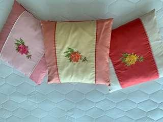 3 peony embroidery cushion covers