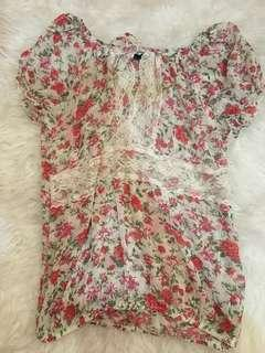 Vintage floral See through Blouse