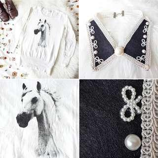 FREE POS Retro Horse Print Long Sleeve Sweater in White + Vintage Statement Collar Necklace with Faux Pearl Details