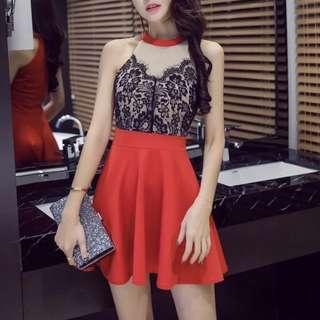 Lace sheer red cute dress