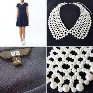 FREE POS Uniqlo Skater Dress in Navy + Vintage Peter Pan Collar Statement Necklace in Faux Pearl