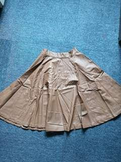 Faux Leather Chestnut Fit and Flare Wide Skirt. Knee length