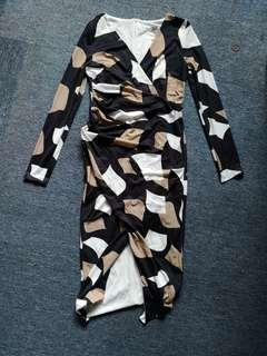 Color Block Patchwork DVF Looking Wrap Dress!