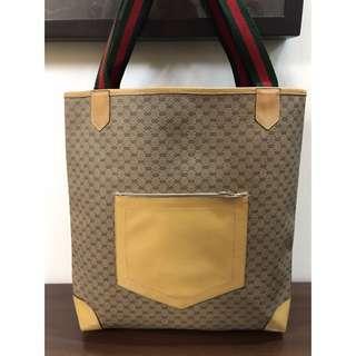 二手正品 GUCCI 防水(大)經典綠紅綠琴書包/肩背包/購物包
