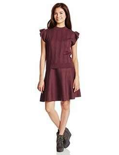 🚚 全新轉賣日本專櫃品牌jill by jillstuart正品酒紅針織短裙套裝