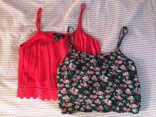RED AND FLORAL FOREVER 21 CROPPED TOPS