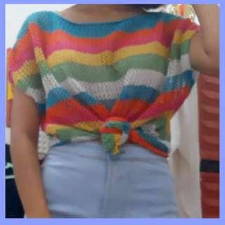 Crop Top jaring jaring rainbow