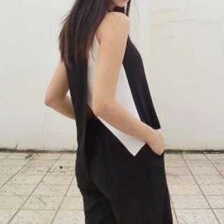 黑白拼接V領背心 Black and white vest