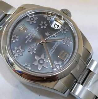 Unworn Rolex 178240 Mid Size 31mm Floral motifs Dial