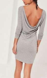 Missguided Grey Cowl Back Dress