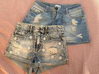 DENIM SHORTS EMBROIDERED AND DISTRESSED