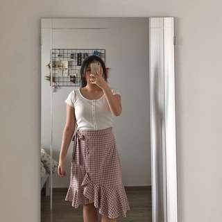 Ulzzang Pink Midi Skirt