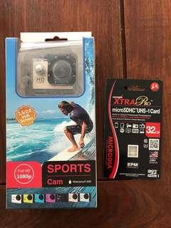 SPORTS CAMERA with 32gb SD card