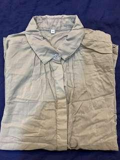 🚚 「3件500」Muji 兩種穿法 灰褐色 襯衫