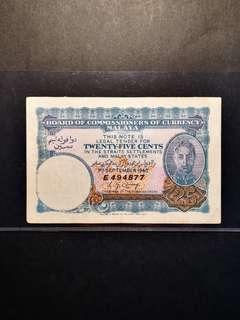 Malaya King George 25 Cents 1940