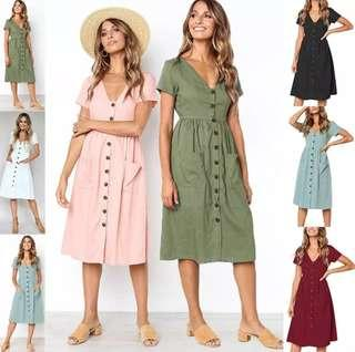 [PO] EurAmerica Minimalist Button Dress (102)