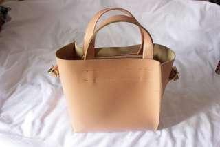 Pinkpeach leather totebag