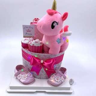 🚚 Ready stock! Unicorn 2-tier Diaper Cake