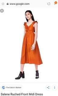 BN The Editor's Market Salene Ruched Front Midi Dress in Caramel