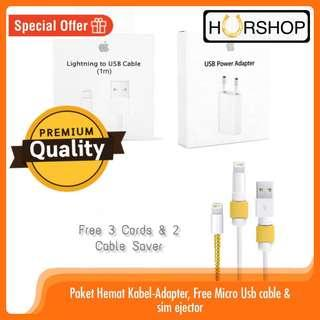 ORIGINAL APPLE paket kabel data dan adapter charger iPhone